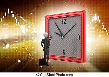 3d man watching the clock