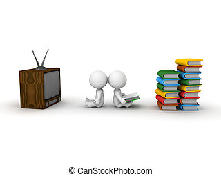 3D Man Watching TV and 3D Man readi