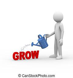 3d man watering word text grow