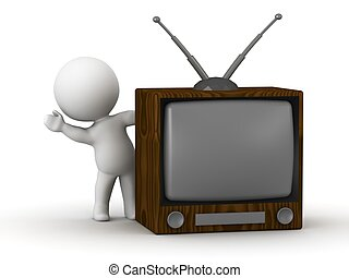 3D Man waving from behind Retro TV - A 3D guy leaning and...