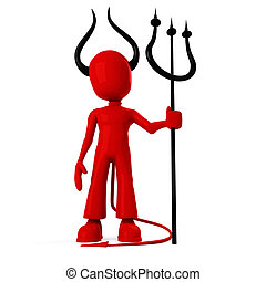 3d man, wearing devil suite, with bih horns. isolated on...