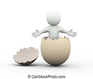 3d man welcome gesture inside cracked broken egg