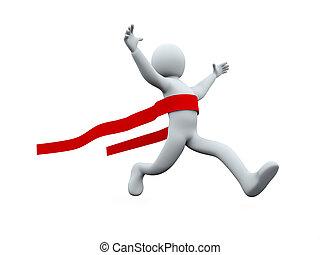 3d man win - 3d illustration of winner person crossing the...