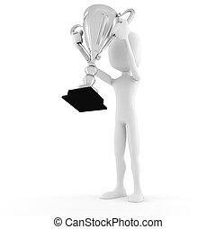 3d man winner holding a big shiny tropthy