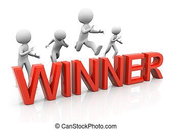 3d man winning the race. Concept of competition, goal achievement, success.