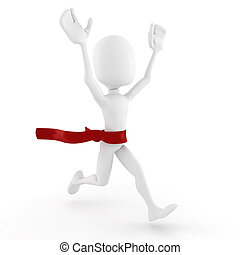 3d man wins, on white background
