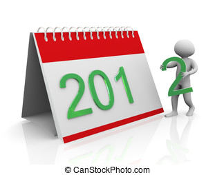 3d man with 2012 calender