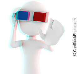 3d man with 3d glasses - Anaglyph Red-Cyan image, so put ...