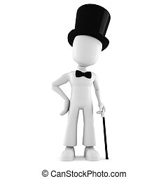 3d man with a big hat, isolated on white background