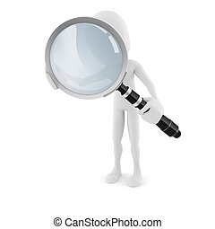 3d man with a big magnifying glass, on white background