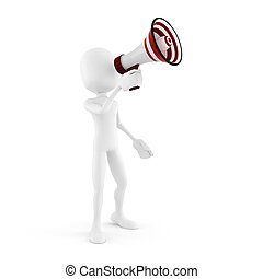 3d man with a big megaphone isolated in white
