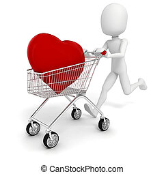 3d man with a big red heart in a shopping cart