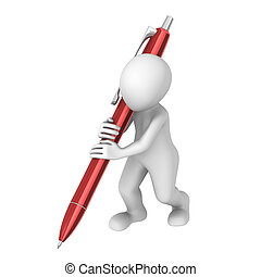3d man with a big red pen