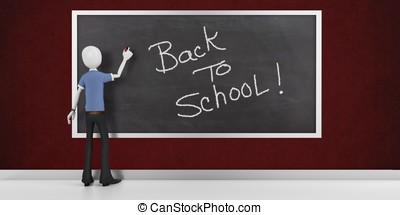 3d man with a blank blackboard back to school