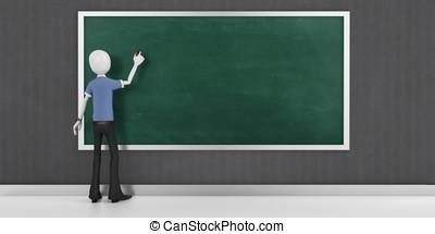 3d man with a blank blackboard detailed