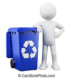 3D man with a blue bin