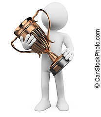 3D man with a bronze trophy in the hands. Rendered at high...