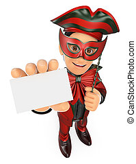 3D Man with a carnival costume showing a blank card