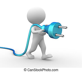 3d man with a electric plug - 3d people - man, person with a...