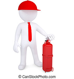 3d man with a fire extinguisher. 3d render isolated on white...