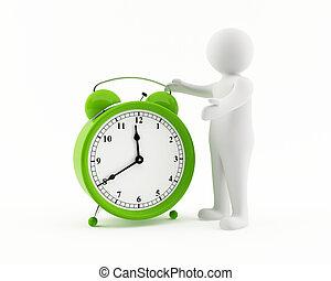 3D man with a green alarm clock