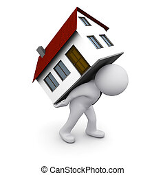 3D man with a house - 3D man carrying house on his back