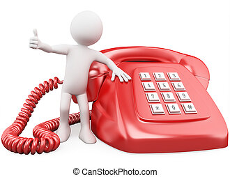 3D man with a huge red phone. Rendered at high resolution on...