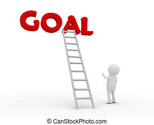 3d man with a ladder