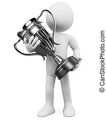 3D man with a silver trophy in the hands. Rendered at high...