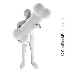3d man with a white bone