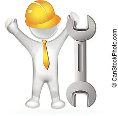 3D man with a wrench logo - 3D man with a wrench icon vector...