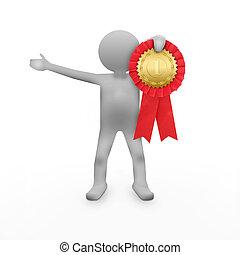 3D man with an award