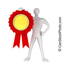3D man with an award medal