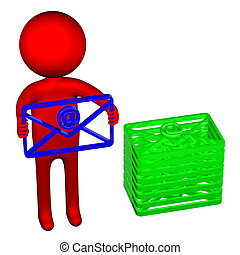3D man with an envelope
