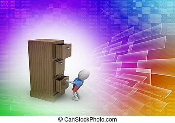 3d man with an open black safe box