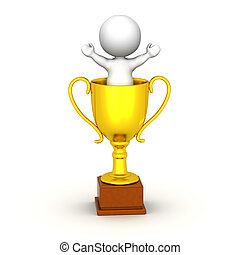 3D Man With Arms Up in Gold Trophy