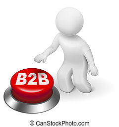 3d man with b2b ( business to business ) button