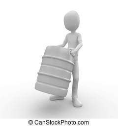 3d man with barrel