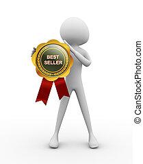 Bestseller medal - 3d man with Bestseller medal