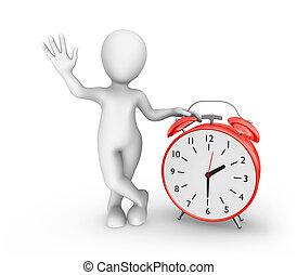 3d man with big red alarm clock