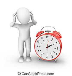 3d man with big red alarm clock. Stress ocncept.