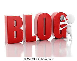 3d man with blog sign. News concept - 3d illustration. White...