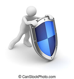 3d man with blue shield