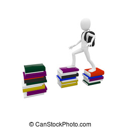 3d man with books - 3d man climbing on top of the books