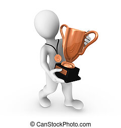 3d man with bronze cup.