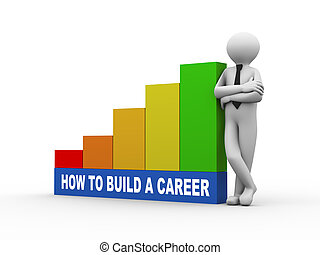3d man with build a career growing business bars