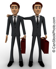 3d man with business partner concept