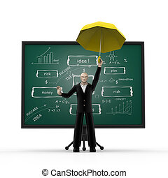 3d man with business strategy board