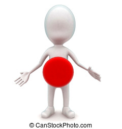 3d man with button on the center of the body concept