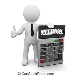 3D man wearing a tie holding calculator and showing OK sign